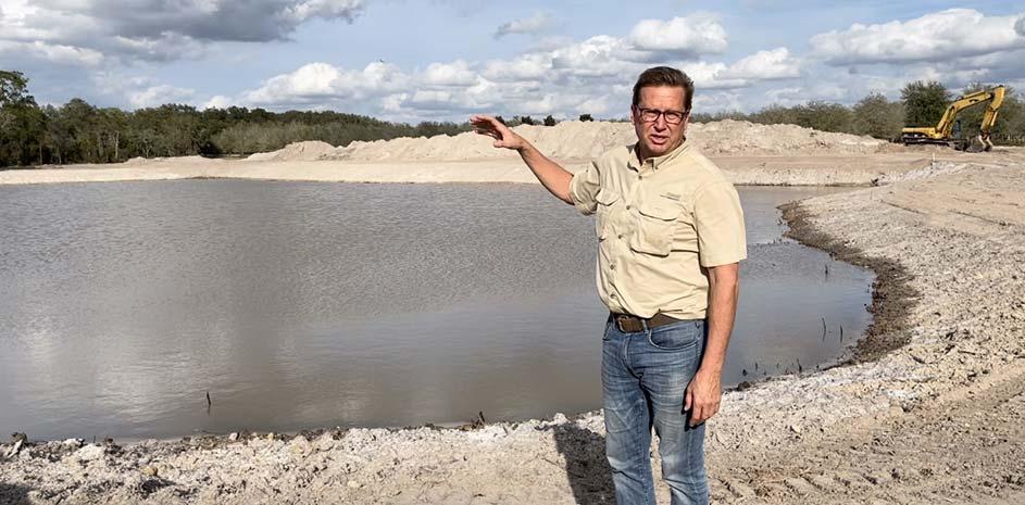 Matt Showing Water Recycling Pond