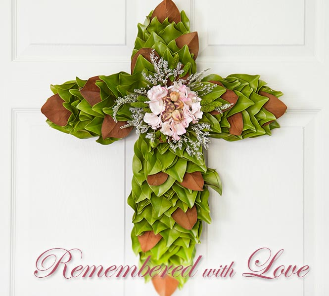 Remembered with Love - Blush Pink Memorial Cross