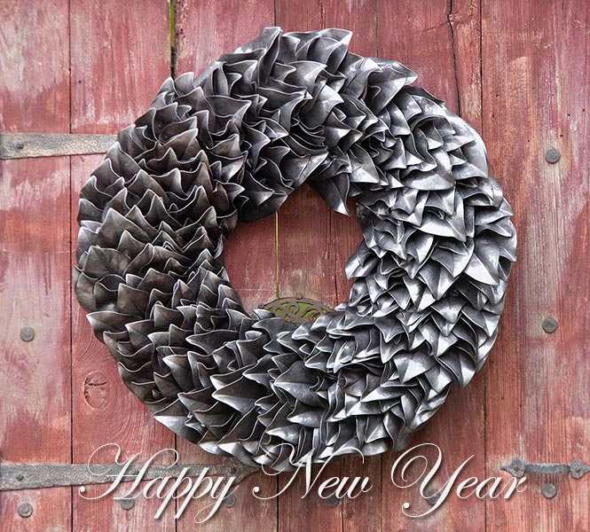 Graphite Lacquer Wreath on Barn Door - Happy New Year