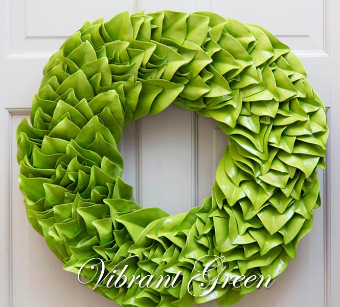 Key Lime Lacquer Wreath on Door - Vibrant Green