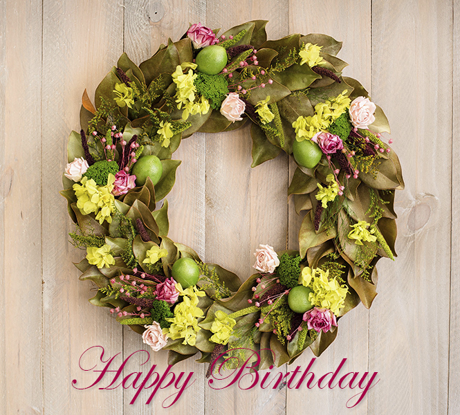 Limes & Roses Wreath - Happy Birthday