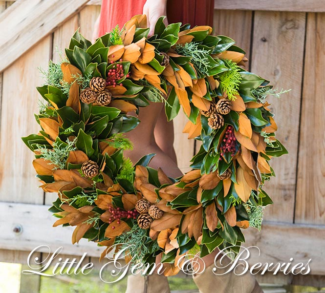 Lady Holding Little Gem & Berries Wreath