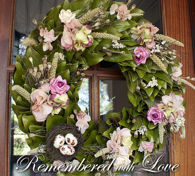 Memorial Roses & Magnolia Wreath - Remembered with Love